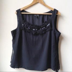 St. John fringe detail black silk sleeveless top